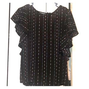 Black short sleeve blouse with tie back